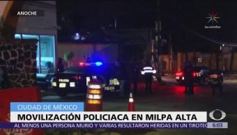 Se registra movilización policíaca en Milpa Alta