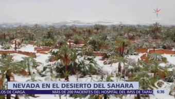 Se registra nevada en el desierto del Sahara, al sur de Marruecos