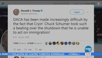 Trump Culpa Chuck Schumer Hacer Difícil Negociación Daca