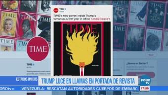 Trump luce en llamas en portada de la revista Time
