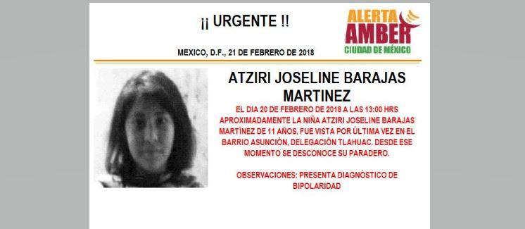 Activan Alerta Ámber para localizar a menor extraviada en Tláhuac