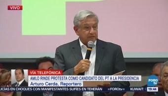 Amlo Rinde Protesta Candidato Pt Andrés Manuel López Obrador