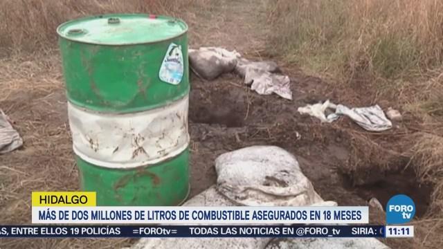 Aseguran en Hidalgo más de dos millones de litros de combustibles