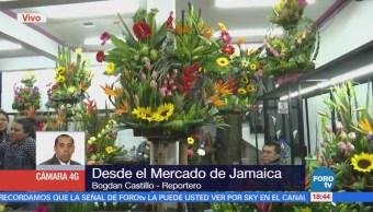 Capitalinos acuden al mercado de Jamaica por regalos de 14 de febrero