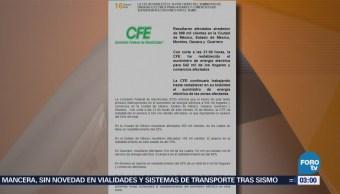 Cfe Reestablece Más 50% Servicio Eléctrico Tras Sismo