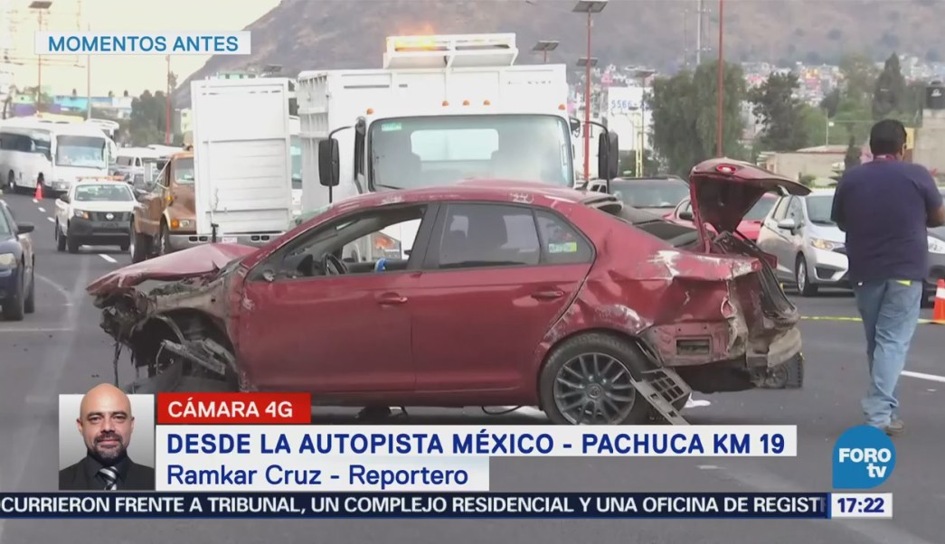 Conductor de un automóvil choca y pierde la vida en la Autopista México - Pachuca