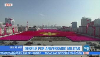 Corea del Norte realiza desfile por aniversario militar