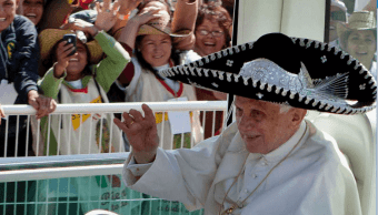El papa Benedicto XVI durante su visita a México en 2012