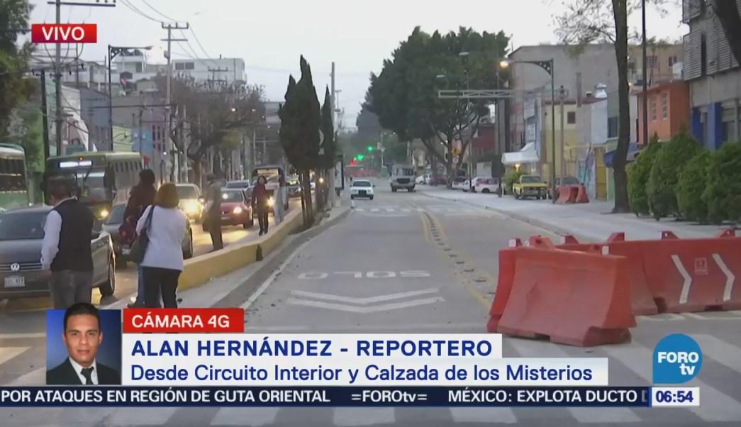 Cerrados los carriles confinados del Metrobús en Calzada de los Misterios