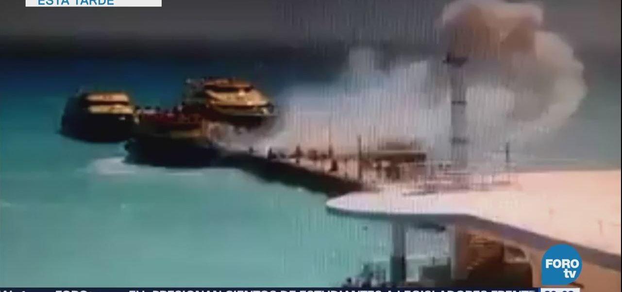 Explosión en ferry deja 18 lesionados en Playa del Carmen