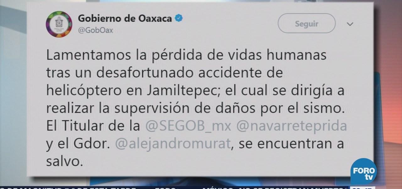 Gobierno de Oaxaca lamenta la muerte de dos personas tras desplome de helicóptero