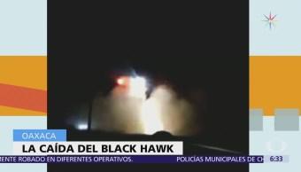Imágenes del momento en que un helicóptero cayó en Oaxaca