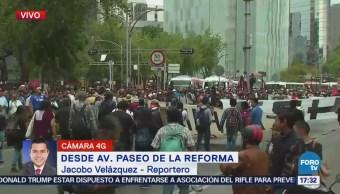 Manifestantes Cierran Carriles Centrales Paseo Reforma