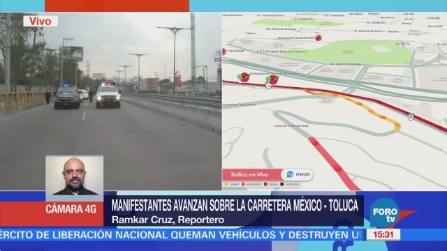 Manifestantes Avanzan Sobre Carretera México-Toluca