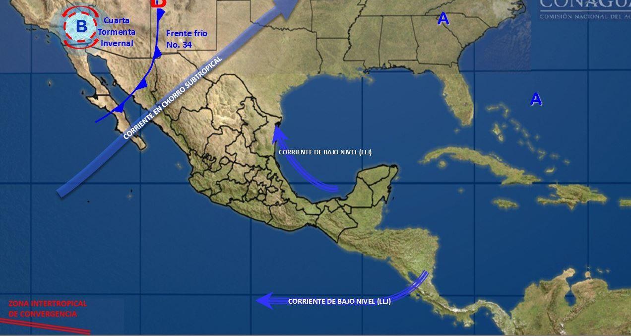 Prevén descenso de temperatura y tormentas a lo largo del país