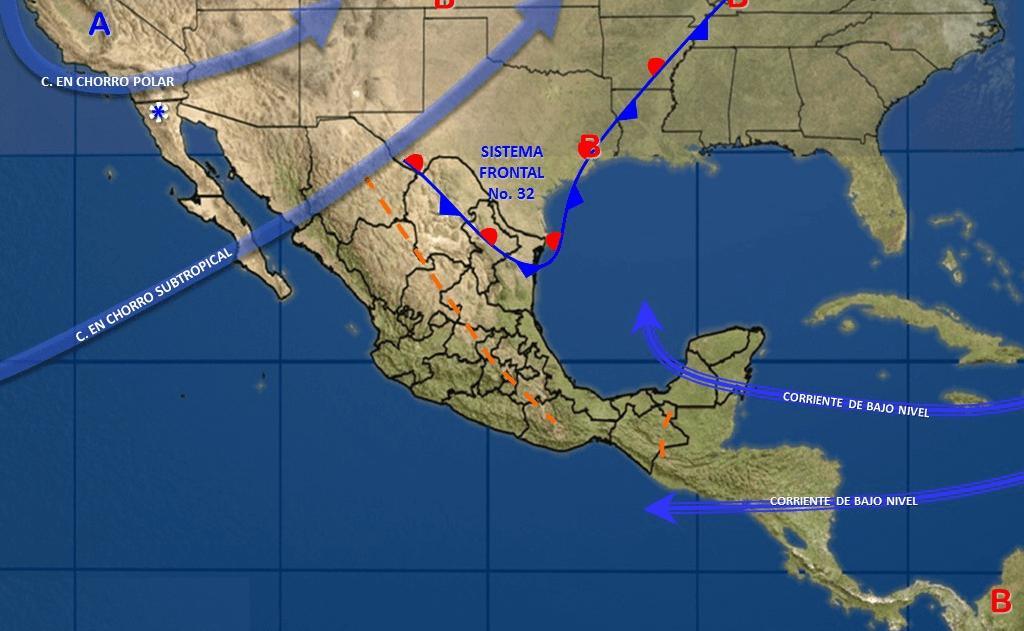 Frente Frío provocará precipitaciones en gran parte del país