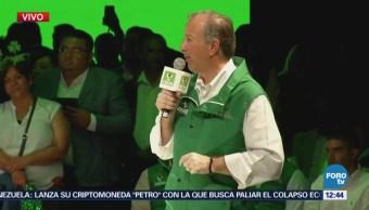 Meade rinde protesta como candidato presidencial del Partido Verde Ecologista