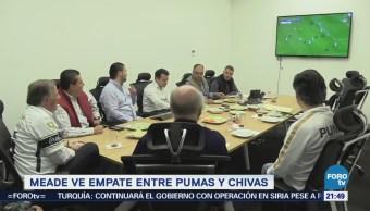 Meade ve empate entre UNAM y Chivas