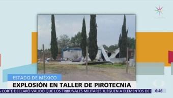Mueren dos personas por explosión en taller de pirotecnia en Tultepec