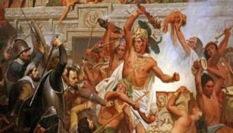 Pintura-captura-de-moctezuma-por-espanoles-durante-la-conquista-de-mexico