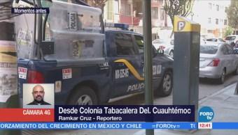 Policías vigilan parquímetros en la colonia Tabacalera, CDMX
