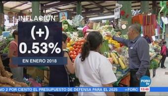 Precios al consumidor aumentan 0.53% en enero, reporta el INEGI