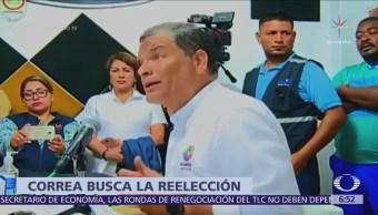 Rafael Correa denuncia ataque durante campaña por enmienda para reelección indefinida