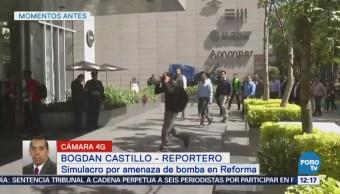 Realizan simulacro de amenaza de bomba en edificio de Reforma, CDMX