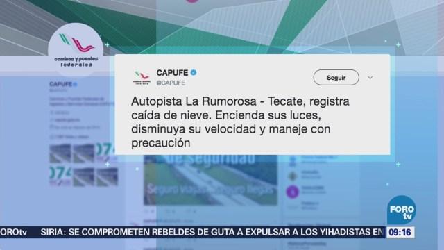 Reportan caída de nieve en la autopista La Rumorosa-Tecate