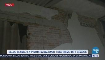 Saldo blanco en Pinotepa Nacional, Oaxaca, tras sismo de 6.0 grados