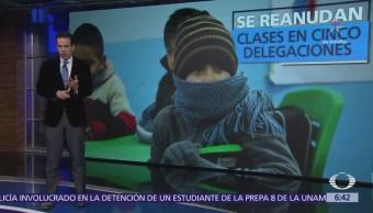 Se reanudan clases en 5 delegaciones donde se registró frío intenso