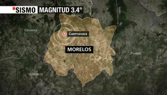 Un sismo de magnitud 3.4 se registra en Cuernavaca, Morelos
