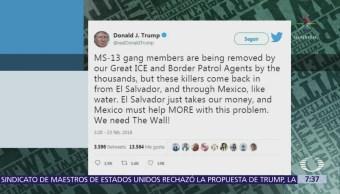 Trump critica a México por permitir entrada de maras a Estados Unidos