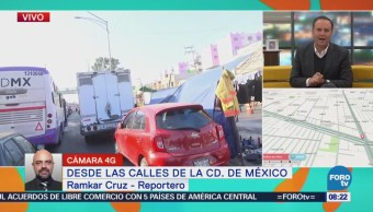 Vialidad afectada en anillo Periférico y Calle 7, CDMX