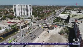 Abren investigación en Florida tras colapso de puente peatonal recién inaugurado