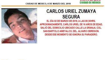 Alerta Ámber para localizar a Carlos Uriel Zumaya Segura desaparecido en CDMX
