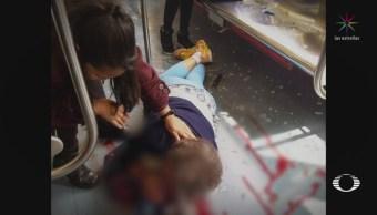 Arrojan piedra a convoy del Metro y lesionan a una mujer