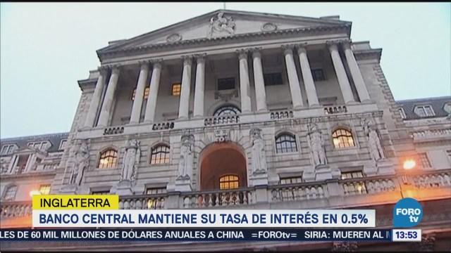 Banco de Inglaterra mantiene sin cambios su tasa de interés