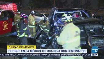 Choque sobre la carretera México Toluca deja dos heridos