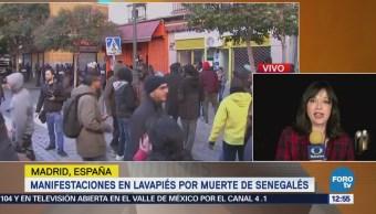 Cientos de personas se manifiestan por muerte de senegalés en MadridCientos de personas se manifiestan por muerte de senegalés en Madrid