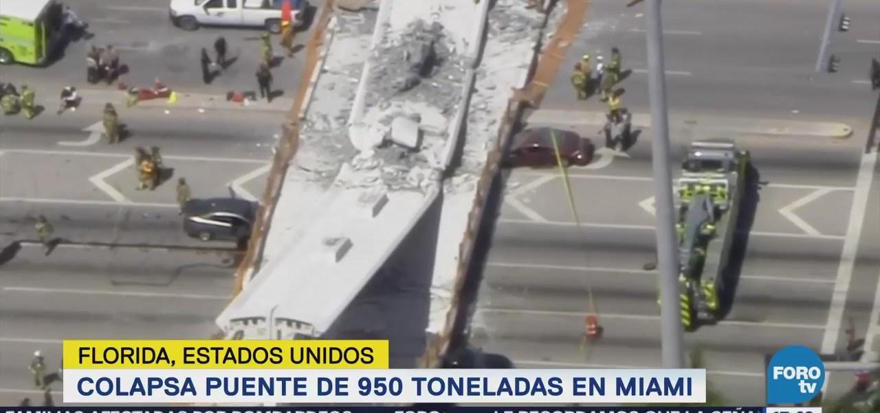 Colapsa puente de 950 toneladas en Miami