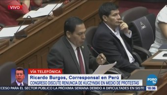 Congreso peruano debate renuncia de Kuczynski