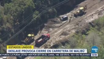 Deslave provoca cierre en carretera de Malibú