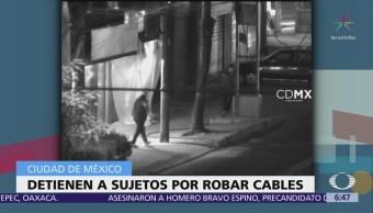 Detienen a tres hombres por robo de cables en la colonia Portales, CDMX