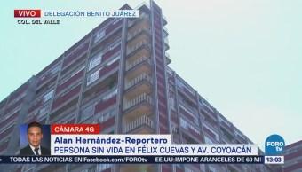 Hallan persona muerta en unidad habitacional de Félix Cuevas, CDMX