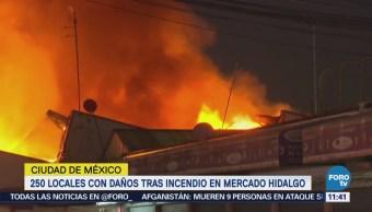 Incendio daña 250 locales del Mercado Hidalgo de la colonia Doctores
