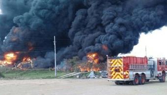 Se registra incendio en empresa de almacenaje en Tamaulipas