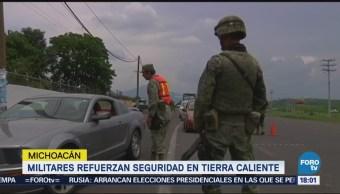 Militares refuerzan seguridad en Tierra Caliente,Michoacán