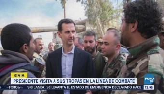 Presidente sirio visita a sus tropas en Guta Oriental