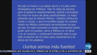 Roberta Jacobson dejará el cargo como embajadora de EU en México